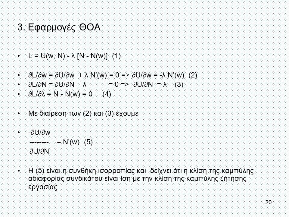 3. Εφαρμογές ΘΟΑ L = U(w, N) - λ [N - N(w)] (1)
